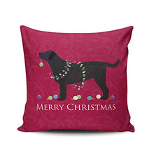 Load image into Gallery viewer, WULIHUA Throw Pillow Cases Sofa Cushion Cover Home Decoration Hot Pink Black Lab Merry Christmas Design Square Custom Pillowcase Size 20X20 Inch Simple and Elegant Double Sides Printed