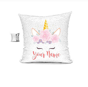 YUUNITY Personalized Unicorn Reversible Sequin Pillow, Custom Unicorn Sequin Pillow Gifts for Girls(White/Black)