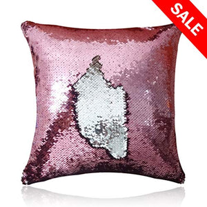 San Tungus Christmas Personalized Sequin Pillow Case, Personalized Wedding Gifts Magic Reversible Mermaid Sequin Throw Pillow Case,Rose Pink and Silver,18x18-Inches