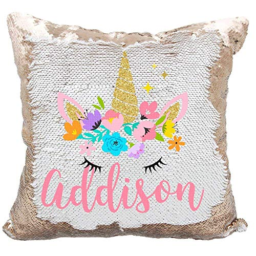 YUUNITY Personalized Mermaid Reversible Sequin Pillow, Custom Unicorn Sequin Pillow for Girls(Rainbow/Silver)