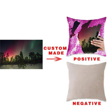 Load image into Gallery viewer, Brilliant sun Custom Sequin Pillow with Your Photos,Magic Reversible Mermaid Throw Pillow Decorative Cushion Cover Customized Gifts