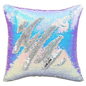 Play Tailor Sequin Pillow Case Flip Sequin Pillow Cover Throw Cushion Cover 16x16in, Silver and Champagne