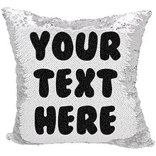 Load image into Gallery viewer, VeraFide Custom Sequin Pillow with Hidden Message (White/Black)