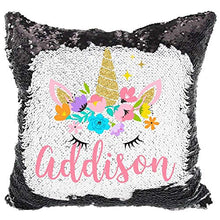 Load image into Gallery viewer, YUUNITY Personalized Mermaid Reversible Sequin Pillow, Custom Unicorn Sequin Pillow for Girls(Rainbow/Silver)