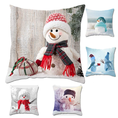 XIGUI Throw Pillow Cover 17.5X 17.5Inches Set of 5 - Christmas Series Cushion Cover Case Pillow Custom Zippered Square Pillowcase(Christmas Snowman)