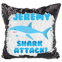 Load image into Gallery viewer, VeraFide Reversible Sequin Pillow for Boys, Custom Sequin Pillow Shark Attack (White/Black)
