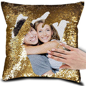 BeautyOriginal Personalized Sequin Pillow with Your Photos Customized Gifts Custom Love Photos, Reversible Mermaid Sequin Pillow Gifts,Cushion Throw Pillowcase16 16""