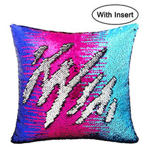 "Load image into Gallery viewer, Basumee Sequin Pillow with Insert, 16""x16"" Magic Reversible Sequins Cushion for Home Décor (Blue/Silver)"