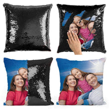 Load image into Gallery viewer, BeautyOriginal Personalized Sequin Pillow with Your Photos Customized Gifts Custom Love Photos, Reversible Mermaid Sequin Pillow Gifts,Cushion Throw Pillowcase16 16""