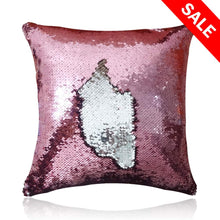Load image into Gallery viewer, San Tungus Christmas Personalized Sequin Pillow Case, Personalized Wedding Gifts Magic Reversible Mermaid Sequin Throw Pillow Case,Rose Pink and Silver,18x18-Inches