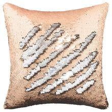 Load image into Gallery viewer, Play Tailor Sequin Pillow Case Flip Sequin Pillow Cover Throw Cushion Cover 16x16in, Silver and Champagne