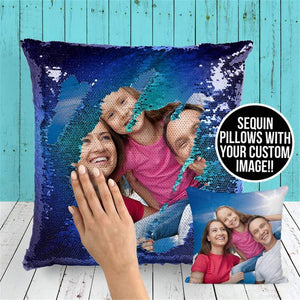 Brilliant sun Custom Sequin Pillow with Your Photos,Magic Reversible Mermaid Throw Pillow Decorative Cushion Cover Customized Gifts