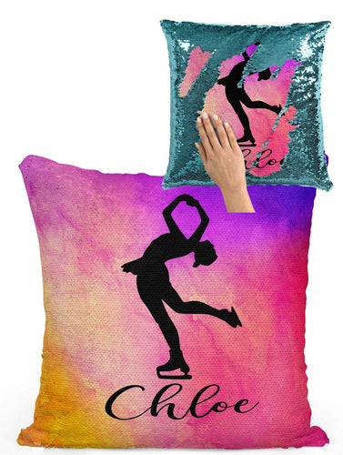 Violet Victoria & Fan Star Figure Skating Custom Sequin Pillow with Rainbow Watercolor (Turquoise Sequin - Pillowcase Only)