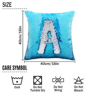 "Basumee Sequin Pillow with Insert, 16""x16"" Magic Reversible Sequins Cushion for Home Décor (Blue/Silver)"