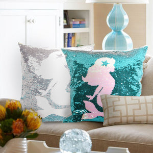leegleri Mermaid Sequins Pillow Case, Reversible Sequin Throw Pillow Cover with Zip,Magic Mermaid Gift Cushion Cover for Chair Couch Bed Sofa