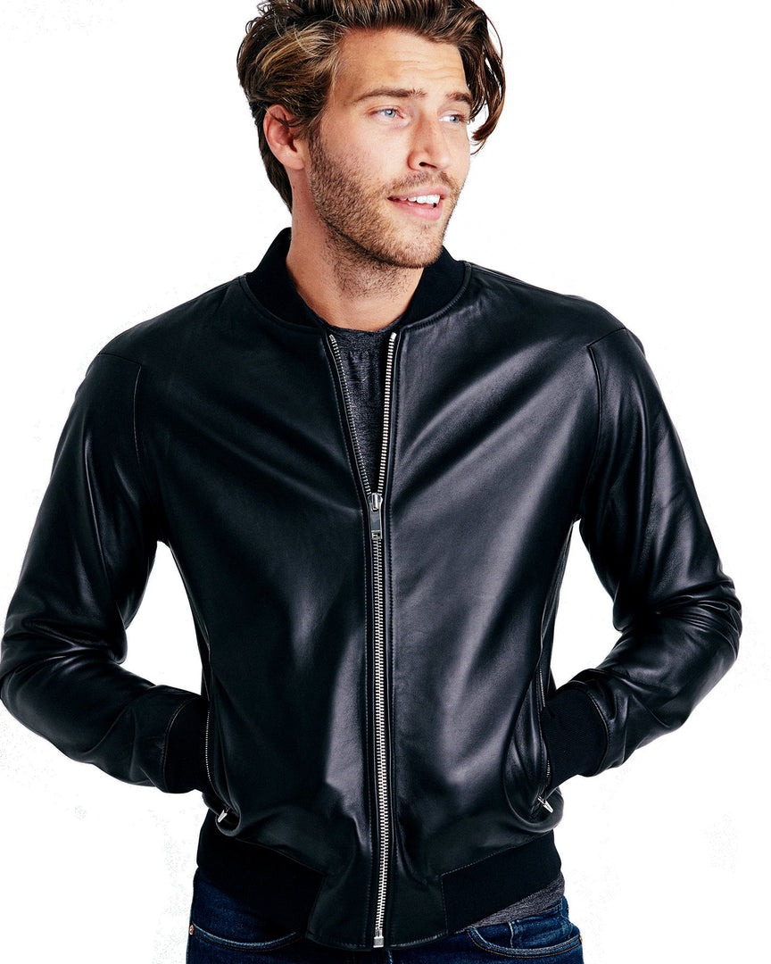 The ASPEN Leather Bomber Jacket in Trey baxter wearing the aspen