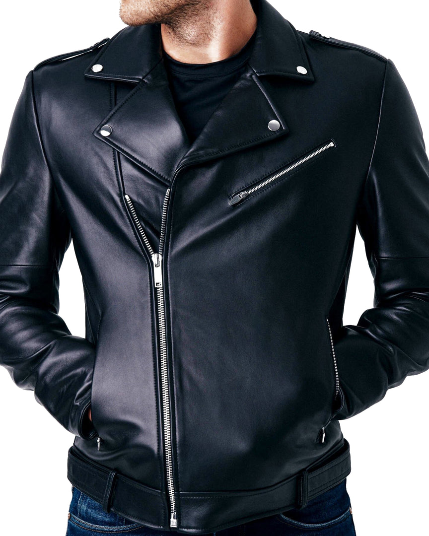 The APOLLO Leather Moto Jacket in The main zipper and lapels of the apollo leather jacket