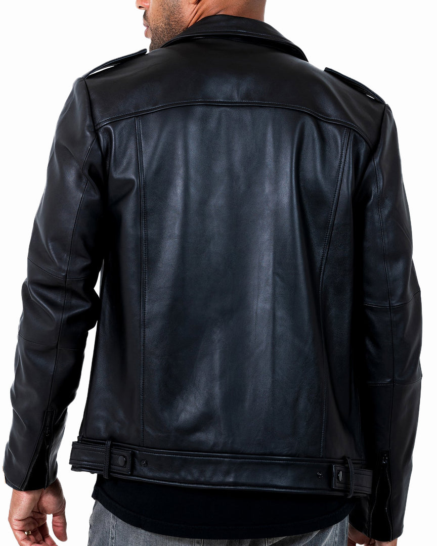 Back of the PHANTOM Leather Moto Jacket