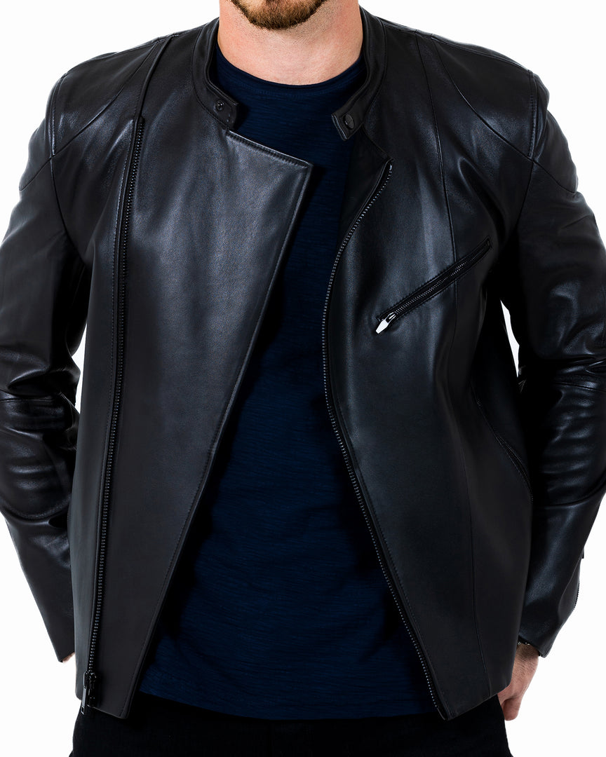 The ANDRODA Leather Biker Jacket in Cadogan leather biker jacket