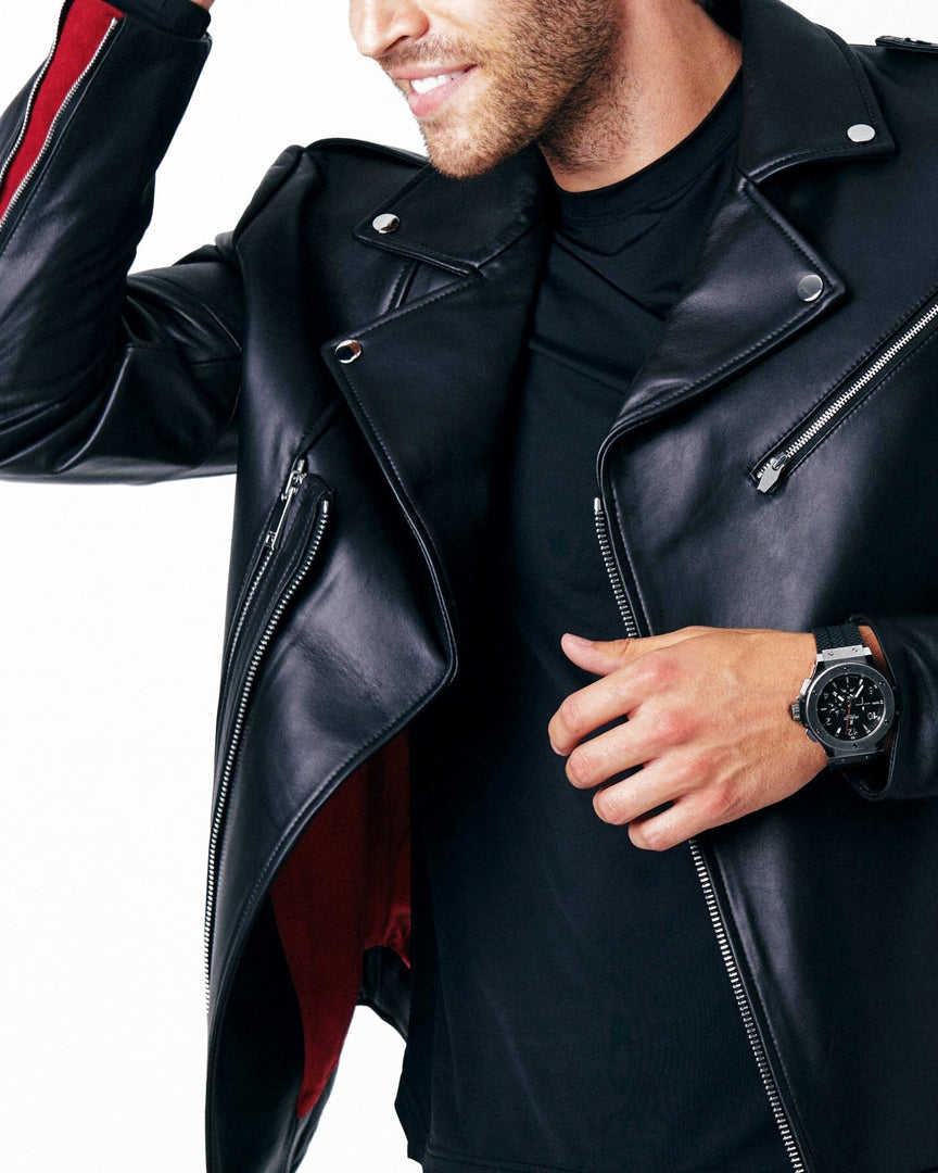 The APOLLO Leather Moto Jacket in The red cuff lining and double zip of the cadogan moto leather jacket