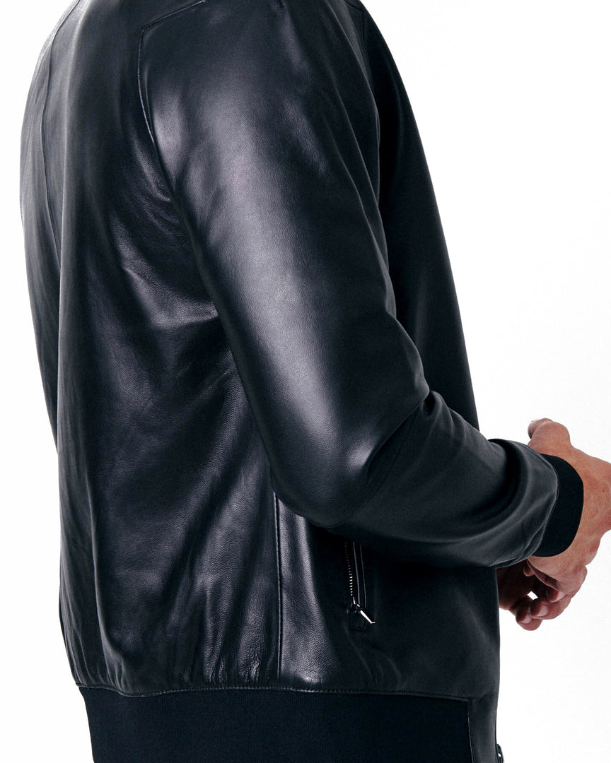 The ASPEN Leather Bomber Jacket in The size view of the cadogan leather bomber jacket