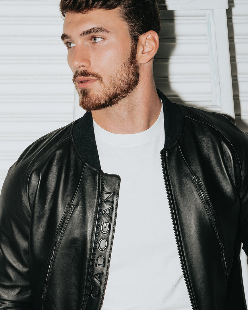 The SKYLINE Leather Bomber Jacket in Michael yerger in a cadogan leather jacket