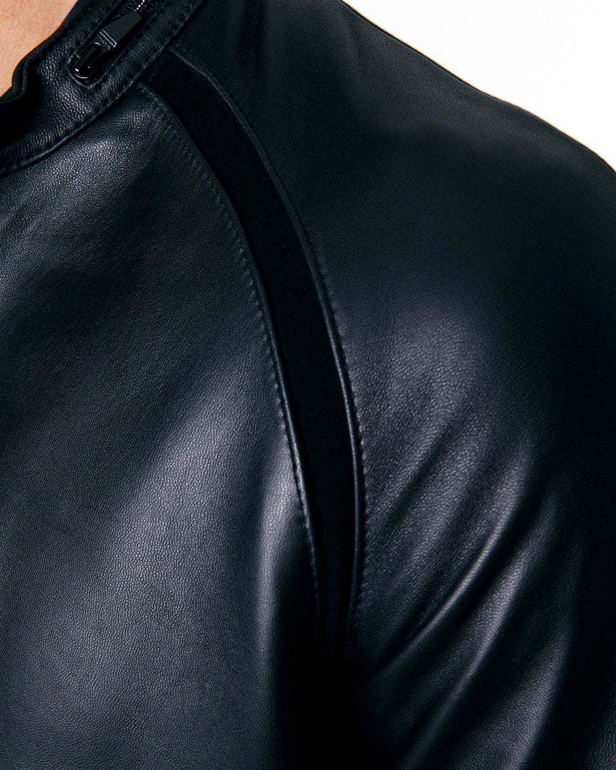 The MAVEN Leather Jacket in The suede shoulder details of the maven