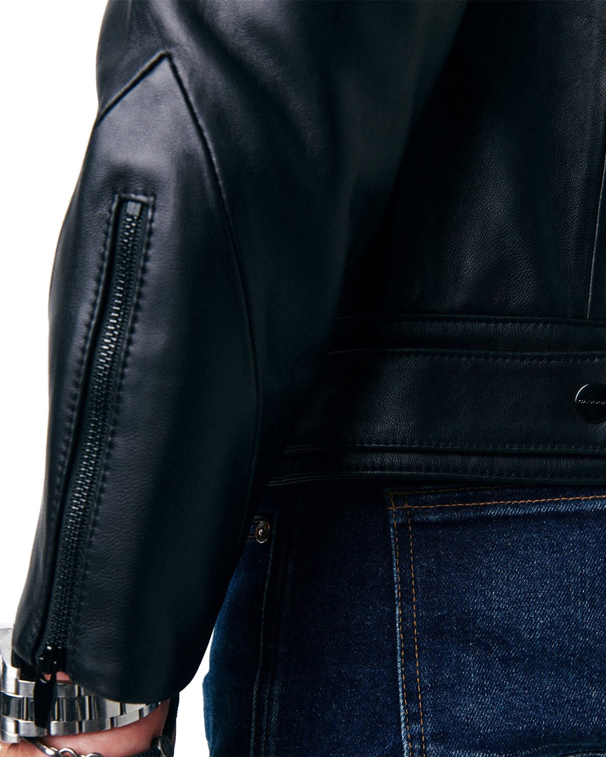 The sleeve details, zippers and adjustable hemline belt of the MAVEN Leather Jacket