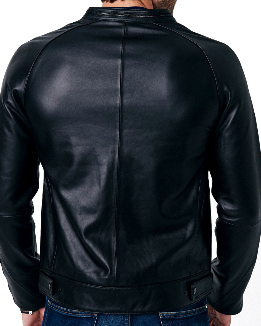 The back view of the MAVEN Leather Jacket made out of full grain midnight black Napa leather