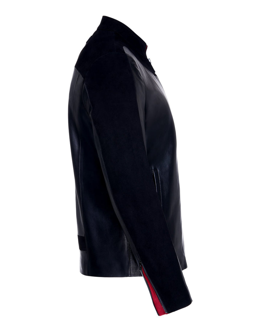 The side view of the suede shoulder and sleeve details of the PRIME Men's Leather Jacket