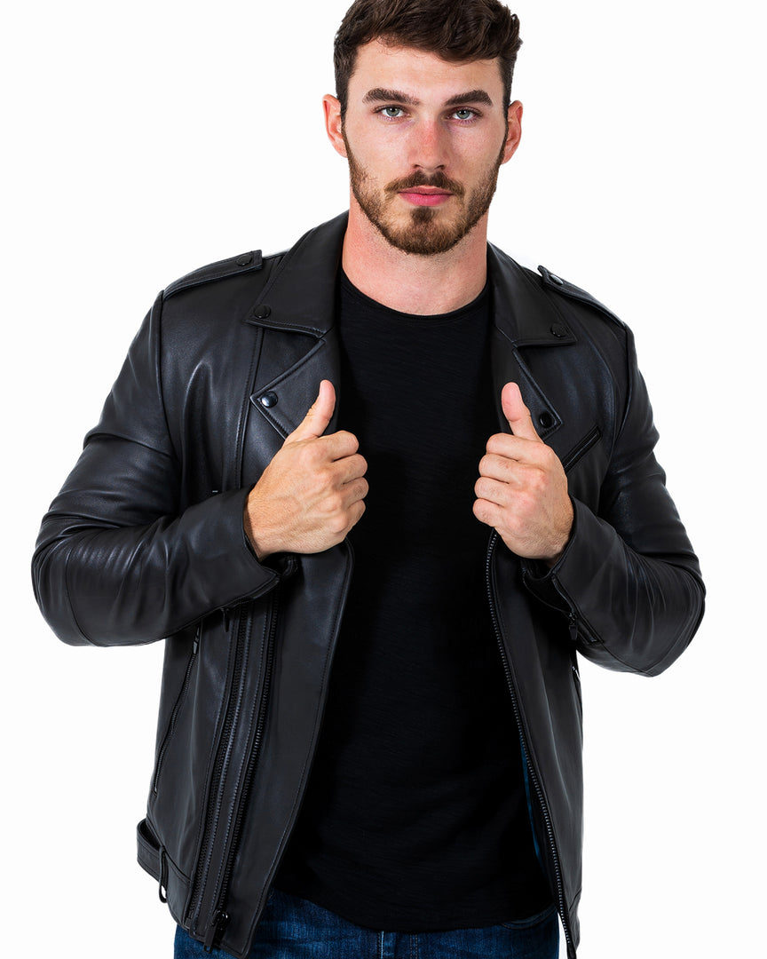 The PHANTOM Leather Moto Jacket in Phantom leather moto jacket