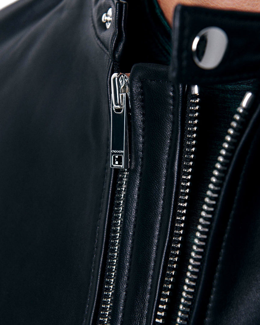The XANDER Leather Biker Jacket in The double zipper of the xander men's leather jacket