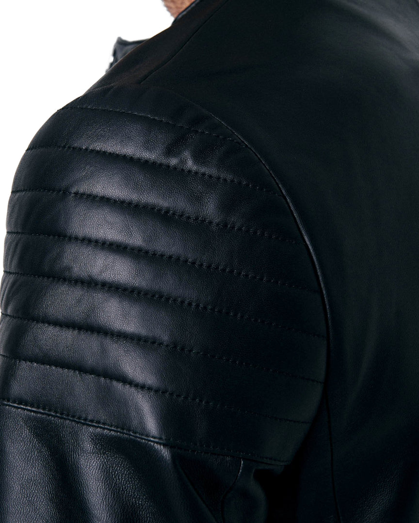 The shoulder and sleeve Napa leather cording of the CADOGAN XANDER Leather Jacket