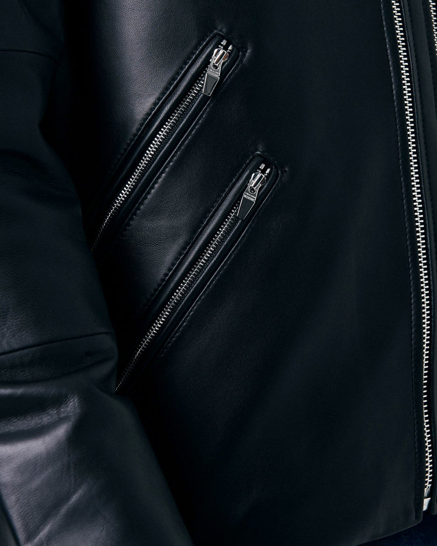 The two front zippers of the Men's XANDER Leather Biker Jacket