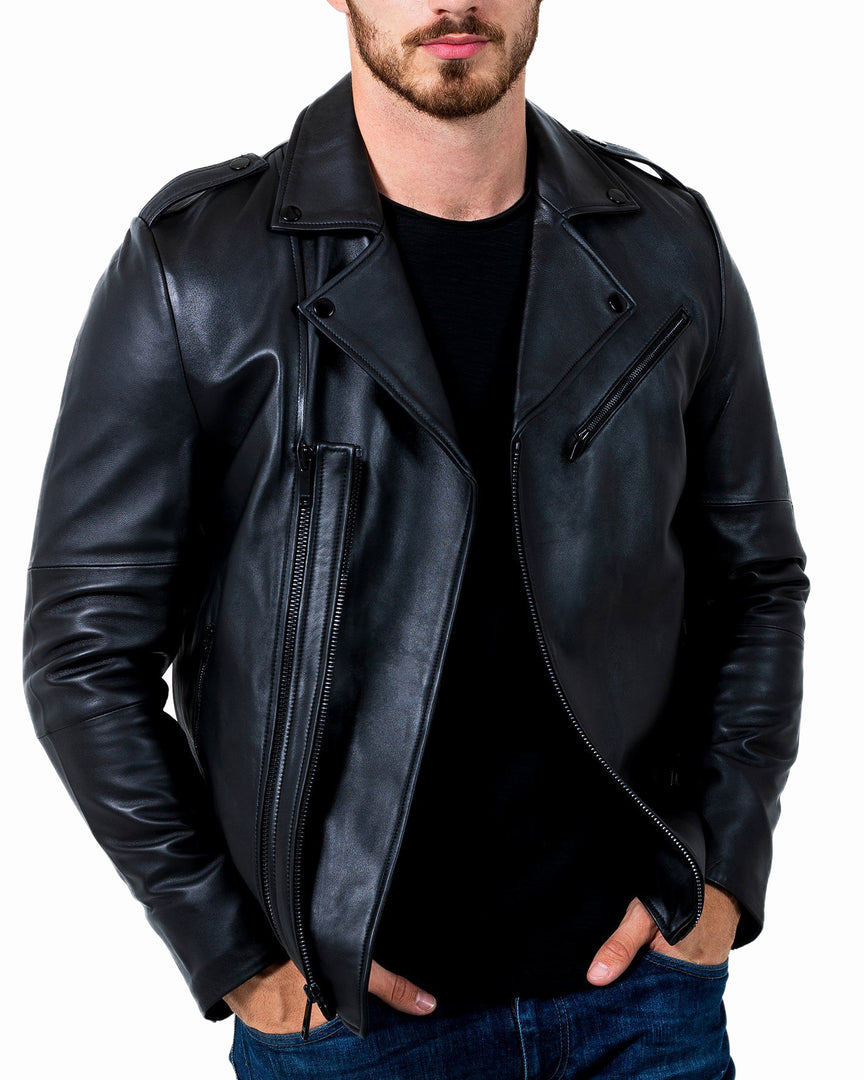 Front of PHANTOM Napa Full-grain Leather Jacket