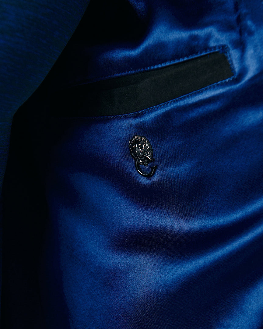 The navy blue Italian Satin Lining of the CADOGAN Maven Leather Jacket