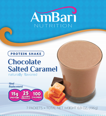 Label of AmBari Nutrition Chocolate Salted Caramel Shake 7 pack