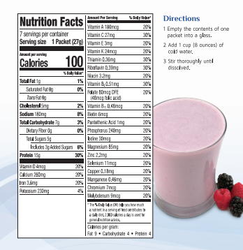 nutrition label of AmBari Nutrition Berry Fusion Smoothie 7 pack