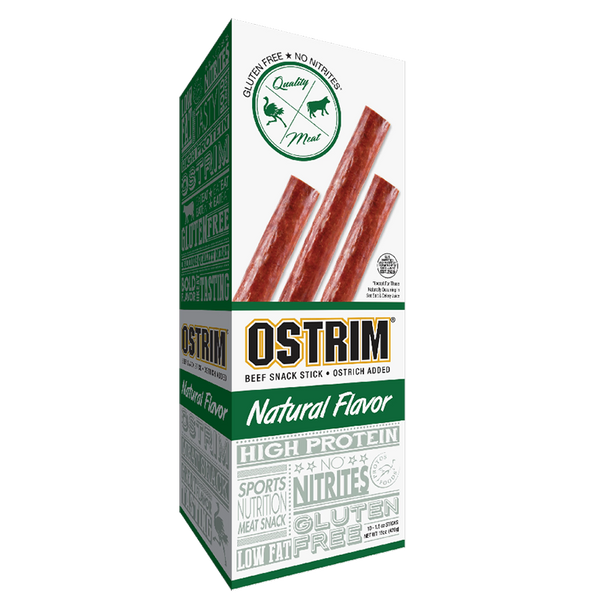 10 pack box of Ostrim Beef & Ostrich Natural Flavor beef sticks