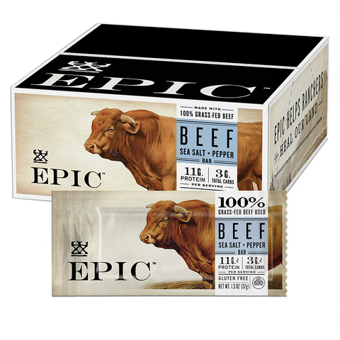 12 pack box of EPIC Provisions Beef Sea Salt + Pepper Protein Bars