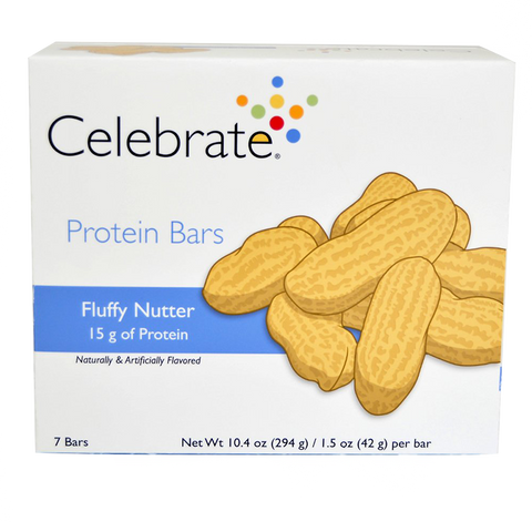 7 pack box of Celebrate Vitamins Fluffy Nutter Protein Bars
