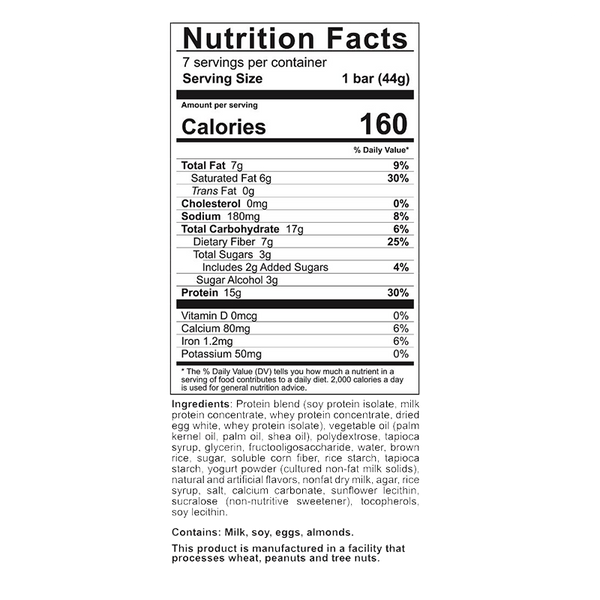 nutrition label of a Celebrate Vitamins Fluffy Vanilla Crisp Protein Bars 7 pack