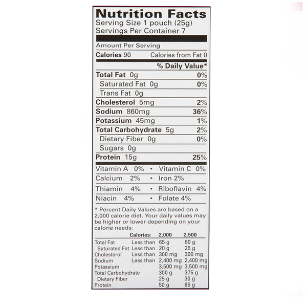 nutrition label of a 7 pack box of ProtiDiet Chicken Noodle Soup