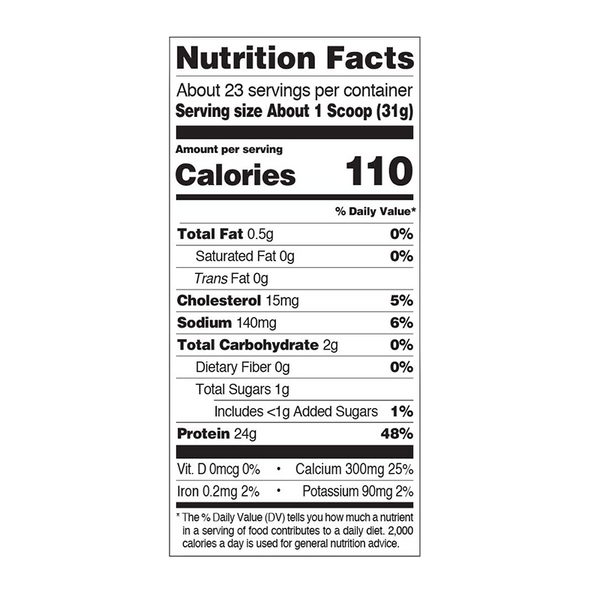 nutrition label for a 1.6 lb bottle of Quest Nutrition Vanilla Milkshake Protein Powder