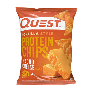 a bag of Quest Nutrition Nacho Cheese Protein Chips