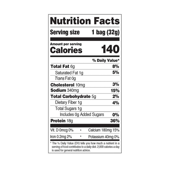 nutrition label on a bag of Quest Nutrition Nacho Cheese Protein Chips
