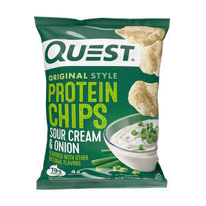 a bag of Quest Nutrition Sour Cream and Onion Protein Chips