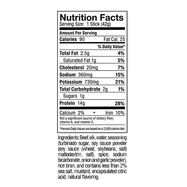nutrition label of a 10 pack box of Ostrim Beef & Elk Teriyaki beef sticks