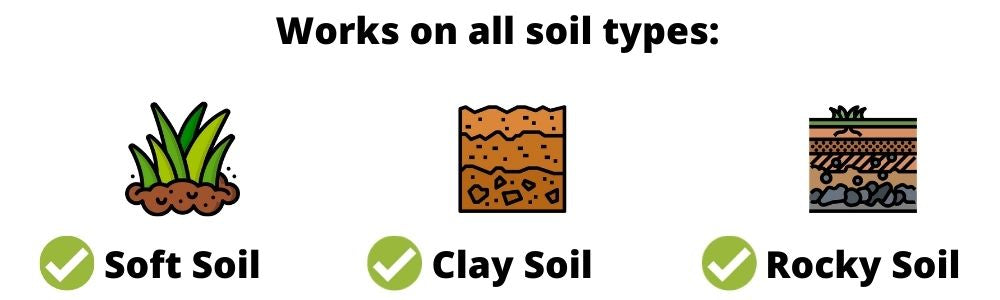 Easy Garden works for all soil types, including clay soil and rocky soil.
