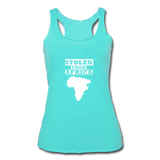 Stolen From Africa Women's Tri-Blend Racerback Tank - turquoise